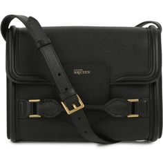 Womens Cross-body Bags Alexander McQueen Heroine Black Leather... ($1,360) ❤ liked on Polyvore featuring bags, handbags, shoulder bags, bolsos, purses, satchel, black, crossbody satchel, black shoulder bag and leather crossbody satchel