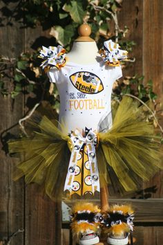 Football tutu outfit with bling and bows by TeenyTinyTwinkles, $50.00
