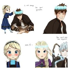 Elsa's guardian Jack Frost. Aww now that's cute. I love it!!! And I'm not even a Jelsa shipper