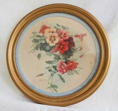 Vintage Antique Paul de Longpre Fairy Lustre Chromolithograph Gold Round Frame
