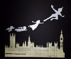 Peter Pan, Wendy & boys flying over London skyline. Screen printed using metallic paint. Peter Pan Silhouette, Silhouette Art, London Skyline Silhouette, Peter Pan Flying, Metallic Paint, Nursery Rhymes, Cyberpunk, Screen Printing, Fairy Tales