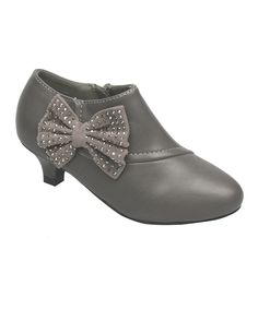 Another great find on #zulily! QQ Girl Gray Bow Holiday Bootie by QQ Girl #zulilyfinds