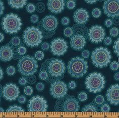 Teal Medallion Flowers with Gold Metallic-  Fortissimo by Robert Kaufman- 100% Cotton Premium Quilting Fabric by QuiltsOnTheFly on Etsy