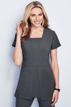 NEW this season, graphite grey beauty tunic with feminine V-Insert panels, suitable for many professions including beauty, hairdressing, spa and salon careers. Shop at www.simonjersey.com for beauty tunics, beautician uniforms, beauty therapist's tunic, salon uniforms, spa uniforms, hairdressing tunics.  Perfect for many work places including beauty salons, spas, hairdressing salons, cosmetic surgeries, dog grooming salons, hotels, boutique hotels and more.