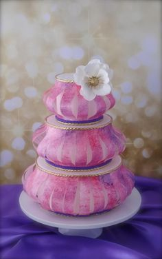 Lantern and anemone flower cake with pink and purple painted wafer paper.  By Tanya at Cake Heart