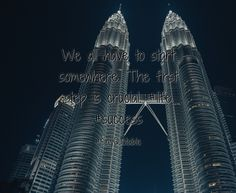 Quotes about We all have to start somewhere. The first step is crucial.    #life #success with images background, share as cover photos, profile pictures on WhatsApp, Facebook and Instagram or HD wallpaper - Best quotes