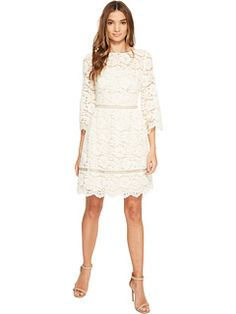 Vince Camuto Lace Elbow Sleeve Fit and Flare Dress
