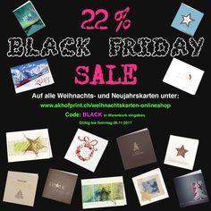 22% Black Friday SALE auf edle Weihnachts-Neujahrskarten für ihre Kunden und Privat www.akhofprint.ch   #onlineshoping #blackfriday #sale #blackfridaysale #blackfridayschweiz #blackfridayswitzerland #rabatt #wirmachenmit #happyfriday #weihnachten #weihnachtskarten #papeterie #christmas #christmascards #neujahrskarten #neujahrswünsche #weihnachtskarten2017 #design #edel #akhofprint #onlineshop #xmascards #happynewyear #xmas #swissmade #onlineshopping #druckerei #saythanks #paperart Happy Friday, Online Shopping, Shops, Monopoly, Design, Paper, Paper Mill, Print Store, Christmas Cards