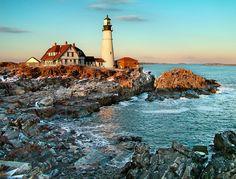 New England Views Portland Maine Lighthouse #headlight  #sunset  #seascape #Scenic #photography