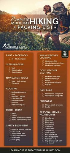 The Ultimate Hiking Packing List with a PDF Download – Best Hiking Gear For Beginners – Backpacking Gadgets – Hiking Equipment List for Women, Men and Kids. Don't forget anything behind with this complete hiking packing list with a PDF download ready for you to use. This hiking gear list contains all you need.