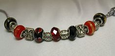 #bacelet #bigholebeads #silver #red #black #gold Red Black, Black Gold, Pandora Charms, Beads, Bracelets, Silver, Handmade, Crafts, Jewelry