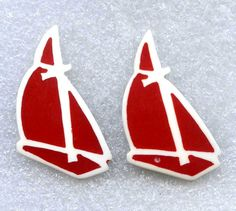 "Vintage Nautical Sailboat Red Plastic Pierced Earrings 1.75"" White Inlay Resin  #NotSigned #Pierced"