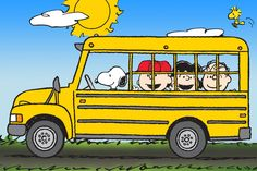 Description: The Peanuts gang are off to school and Snoopy is the bus driver. Bright and bold, this Peanuts canvas print shows the kids heading to school. - Peanuts wall art featuring Snoopy, Woodstoc
