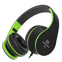 Headphones Sound Intone Foldable Headphones with Microphone and Volume Control On-ear Wired Headset for iphone and Android Devices (Black/green)