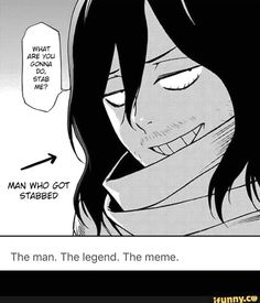 These are the funniest and newest anime memes ever created. Anime memes, like most memes, make that anime funny by adding their own ideas to the scene. Boku No Hero Academia, My Hero Academia Memes, Hero Academia Characters, My Hero Academia Manga, Blue Exorcist, Gun Gale Online, Anime W, Anime Meme, Shouta Aizawa