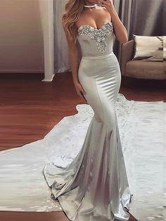 Vestido de Noche de 2017 Largo Elegante Brillante Falda de Cola de Pezcado (Envío Gratuito)