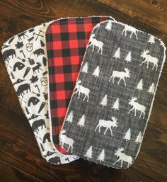 Buffalo Plaid Moose woodsman littleman burp by TheCoralCottage