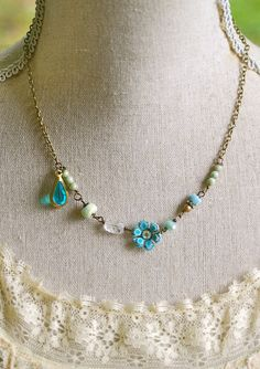 Emily.peruvian opal,vintage beaded,rhinestone necklace. Tiedupmemories