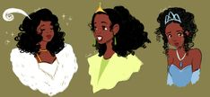 """camiinoa: """" There is an universe out there where Disney animated Princess Tiana w/ her hair down. A person can dream though. Bonus doodle with Charlotte/Lottie: """" Walt Disney, Disney Princess Tiana, Disney Love, Disney Art, Tangled Princess, Princess Merida, Disney Stuff, Disney Princesses, Black Girl Art"""