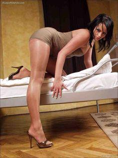 Caprice fine black slut waering pantyhose and