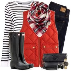 red puffer vest christmas outfit, Christmas casual wear http://www.justtrendygirls.com/christmas-casual-wear/