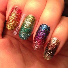 rainbow glitter ombre by azusa - Nail Art Gallery nailartgallery.nailsmag.com by Nails Magazine www.nailsmag.com #nailart