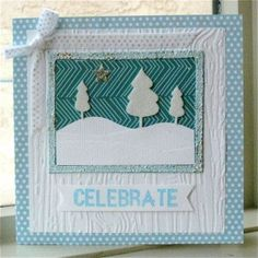 Wintry Christmas Celebration Card: if you're looking for a break from traditional red and green Christmas cards, walk in a winter wonderland with this homemade Christmas card.
