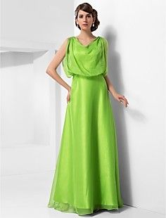 A-line Cowl Floor-length Chiffon Evening Dress – USD $ 149.99