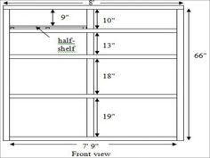 height of bookshelves
