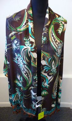 Etro NWT Oblong Brown Multi-Colored Beaded Print Silk Scarf Shawl Wrap $570. #Etro #ScarfShawlWrap #Any