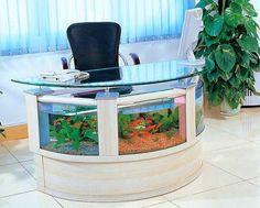 Unusual Aquariums and Custom Tropical Fish Tanks for Unique Interior Design like this fish aquarium office desk