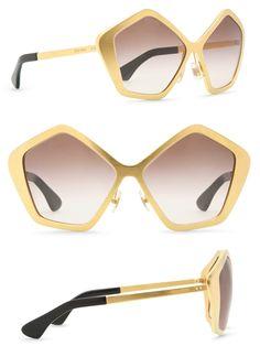 132b971fa88 (Miu Miu Culte Sunglasses) Handmade pentagonal shaped frames with brushed  gold finish.