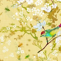 Bird   the Bees (Butter Yellow) fabric by nouveau_bohemian on Spoonflower - custom fabric