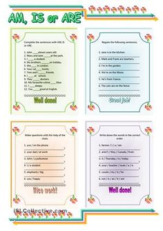 There are 4 exercises to practise the present forms of the verb 'TO BE'. 1) Ss have to complete the sentences. 2) negative sentences 3) making questions 4) jumbled sentences I hope you like it and find it useful. :-) - ESL worksheets