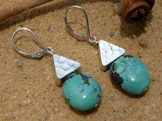Turquoise Earrings Karen Hill Tribe Silver Earrings by Lapideum