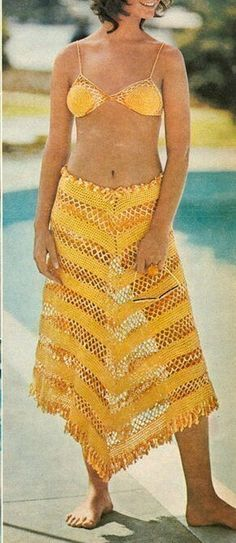 Sexy Yellow Bikini with Skirt Cover Crochet Pattern: http://www.etsy.com/listing/60488741/crochet-pattern-sexy-yellow-bikini-with