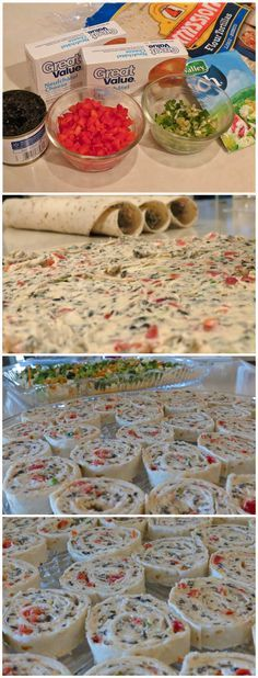 CREAM CHEESE RANCH ROLL-UPS . i'd replace the ranch dressing with yummy italian herbs or herbs de provence. and i would use corn tortillas (Pinwheel Sandwich Recipes) Pinwheel Sandwiches, Pinwheel Appetizers, Finger Food Appetizers, Wrap Sandwiches, Appetizers For Party, Appetizer Recipes, Cheese Appetizers, Cream Cheese Pinwheels, Cream Cheese Roll Up