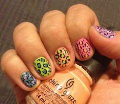 Nails leopard pastels animal print cheetah