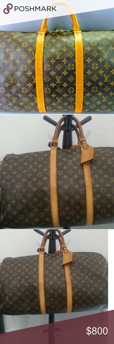 Authentic Louis Vuitton Bandouliere 55 Duffle Bag Authentic Louis Bandouliere 55 Duffle Bag with Lock, luggage tag, & handle holder. Similar to the keepall accept this bag has the attachment for the strap. It is in great condition. No holes or rips. The one zipper is half way on the track that holds the lock. The other zipper works great & secures the bag closed fine. Interior is in great  condition no holes no rips. I have Louis Vuitton Chanel Gucci Prada etc. feel free to see my other…