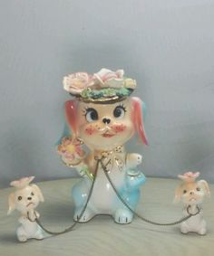 Vintage Lipper & Mann Creations Japan Ceramic Mother Dog with 2 Chained Puppies