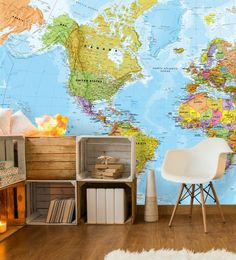 Are you a lover of geography? Or perhaps you love to travel and want to plan your next vacation in style? Why not get the ultimate map for travellers and adorn this map wallpaper on your wall? Great for a budding teen traveller dreaming about their next adventure or even your own bedroom or office, this map feature wall will brighten up any space! Get the look at Wallsauce.com!