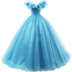 Ikerenwedding Women's Organza Cosplay Cinderella Dress Long... ($120) ❤ liked on Polyvore featuring dresses, gowns, blue gown, long gowns, long evening gowns, long blue gown and long evening dresses
