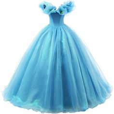 Ikerenwedding Women's Organza Cosplay Cinderella Dress Long... ($120) ❤ liked on Polyvore featuring dresses, gowns, blue gown, long gowns, long evening gowns, long blue gown and long evening dresses