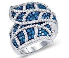 Blue Diamond Leaf Shaped Fashion Ring Band 10K White Gold (2.00 ct.tw.) #Diamond #wedding #Engagement #Band #fashion #Jewelry