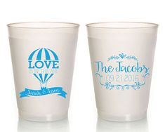 Love is in the Air Wedding Cups Wedding Cups Love is in the Air Wedding Cups Hot Air Balloon Bridal Favor Balloon Wedding Cup 1067 by SipHipHooray