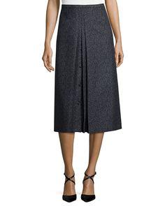 Michael Kors Inverted-Pleat A-Line Skirt, Black/Banker, Women's, Size: 8