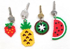 DIY hama perler beads fruit keyring pineapple watermelon kiwi strawberry kawaii gift craft- My kids love making these bead crafts. Perler Beads, Perler Bead Art, Fuse Beads, Perler Bead Designs, Hama Beads Patterns, Beading Patterns, Art Perle, Motifs Perler, Kawaii Gifts