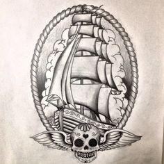 Oldskool ship tattoo design by dazzbishop on DeviantArt