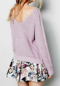 Must-have Lavender Sweater - Sexy V Back Neckline