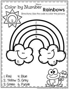 FREE Preschool Worksheet - Color by Number Spring Rainbow